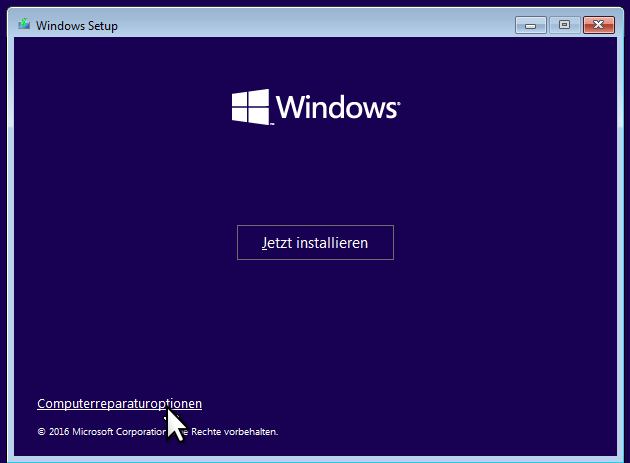 Win10DVDBoot Scr02 Aufruf der Reparaturoption